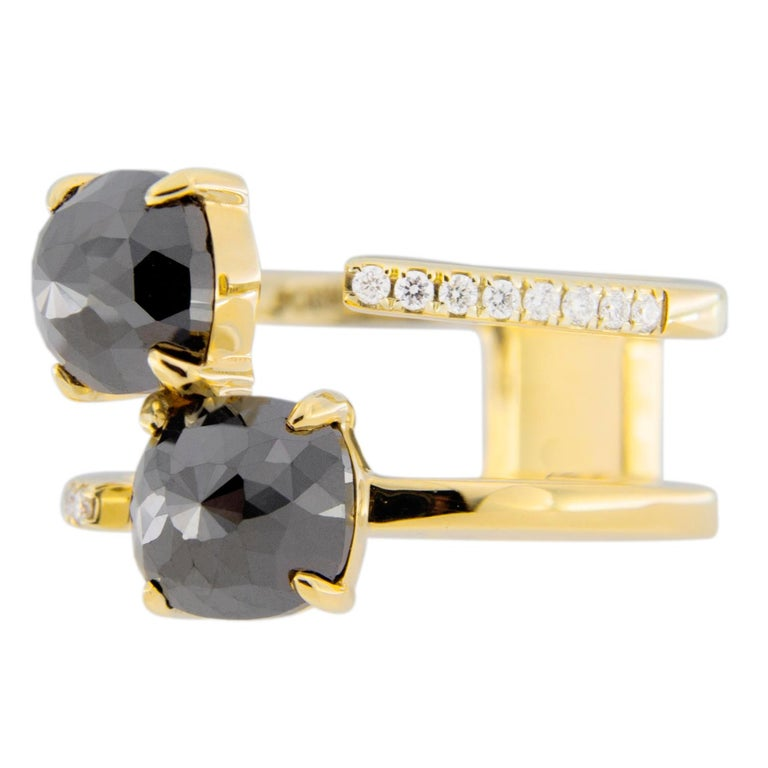 Jona Black Diamond and White Diamond 18 Karat Yellow Gold Open Ring Band 6