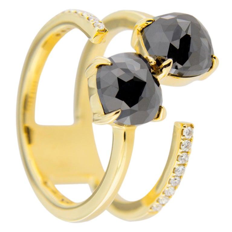 Jona Black Diamond and White Diamond 18 Karat Yellow Gold Open Ring Band In New Condition In Torino, IT