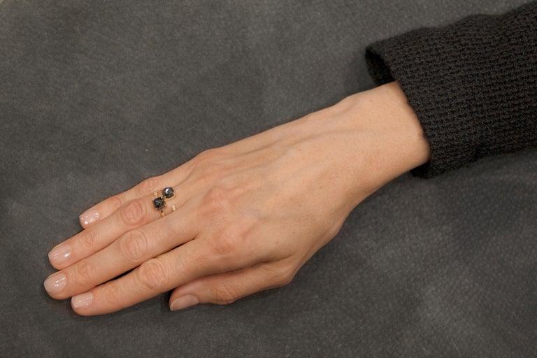 Jona Black Diamond and White Diamond 18 Karat Yellow Gold Open Ring Band 4