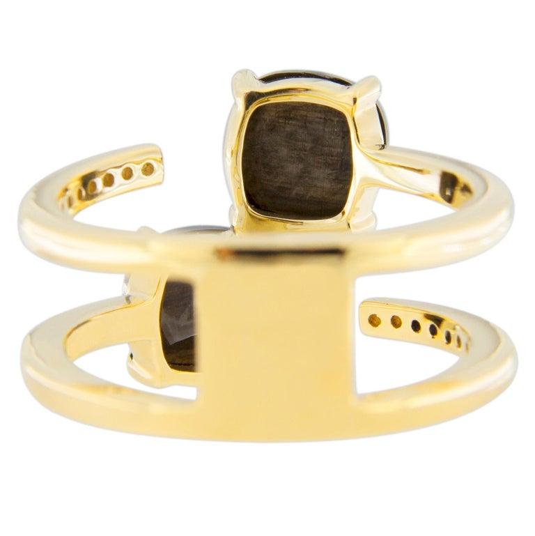 Jona Black Diamond and White Diamond 18 Karat Yellow Gold Open Ring Band 5