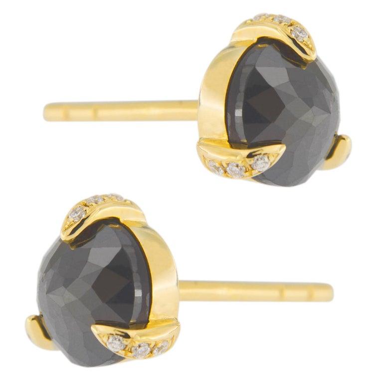 Jona Black Diamond White Diamond 18 Karat Yellow Gold Stud Earrings In New Condition For Sale In Torino, IT