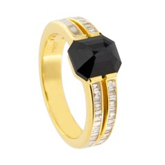 Jona Black Diamond and White Diamond Yellow Gold Ring