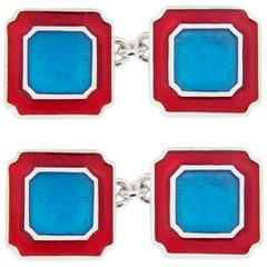 Jona Blue and Red Enamel Sterling Silver Cufflinks