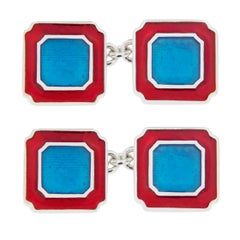 Jona Blue and Red Enamel Sterling Silver Cufflinks