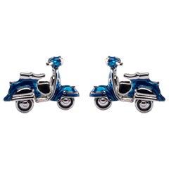 Jona Blue Enamel Silver Scooter Cufflinks