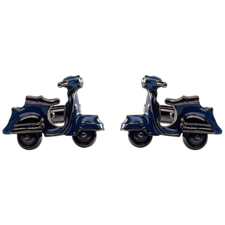 Jona Blue Enamel Silver Scooter Cufflinks For Sale
