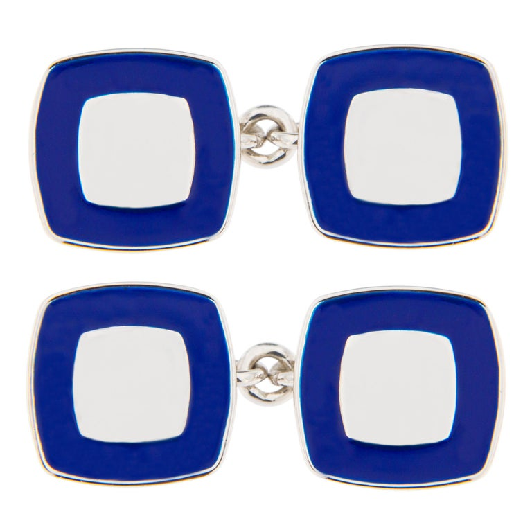 Jona Blue Enamel Sterling Silver Cufflinks For Sale