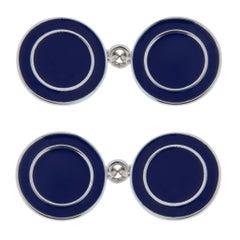 Jona Blue Enamel Sterling Silver Cufflinks