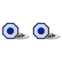 Jona Blue Enamel Sterling Silver Octagonal Cufflinks