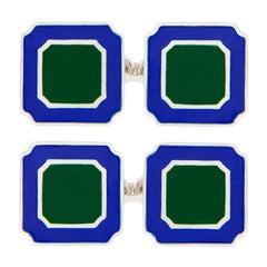 Jona Blue Green Enamel Sterling Silver Cufflinks
