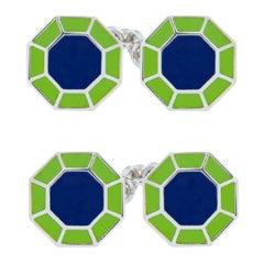 Jona Blau Grüne Emaille Sterlingsilber Achteckige Manschettenknöpfe