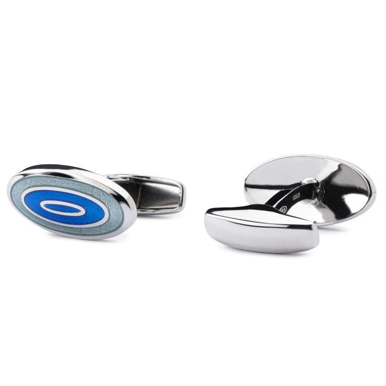 Jona Blue Grey Enamel Sterling Silver Cufflinks In New Condition For Sale In Torino, IT