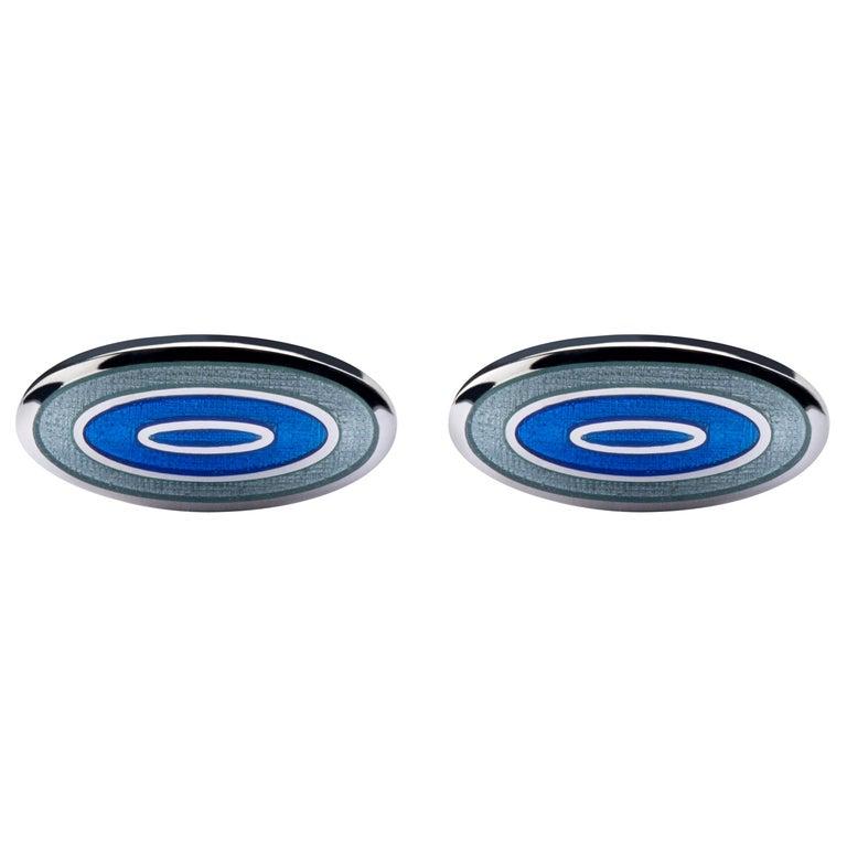 Jona Blue Grey Enamel Sterling Silver Cufflinks For Sale