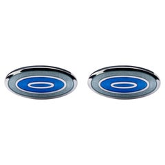 Jona Blue Grey Enamel Sterling Silver Cufflinks