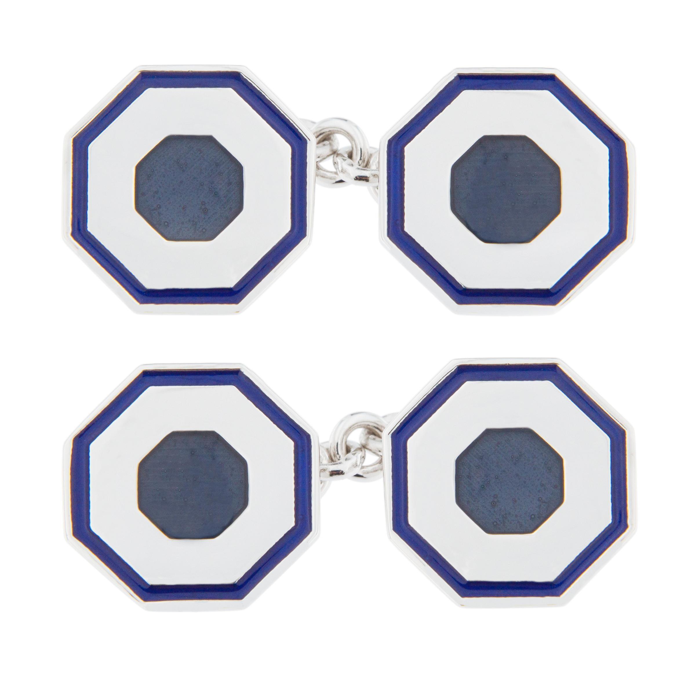 Jona Blue Grey Enamel Sterling Silver Cufflinks