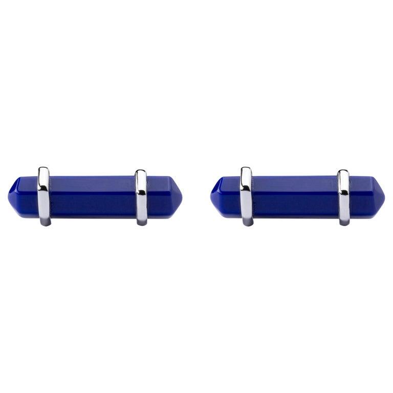 Jona Blue Lapis Sterling Silver Cufflinks For Sale
