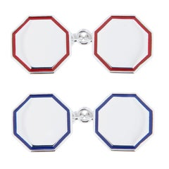 Jona Blue Red Enamel Sterling Silver Cufflinks