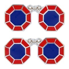 Jona Blue Red Enamel Sterling Silver Octagonal Cufflinks