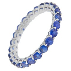 Jona Blue Sapphire 18 Karat White Gold Eternity Band Ring