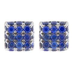 Jona Blue Sapphire 18 Karat White Gold Square Earring Studs
