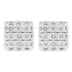 Jona Blue Sapphire 18 Karat White Gold Square Earrings Studs