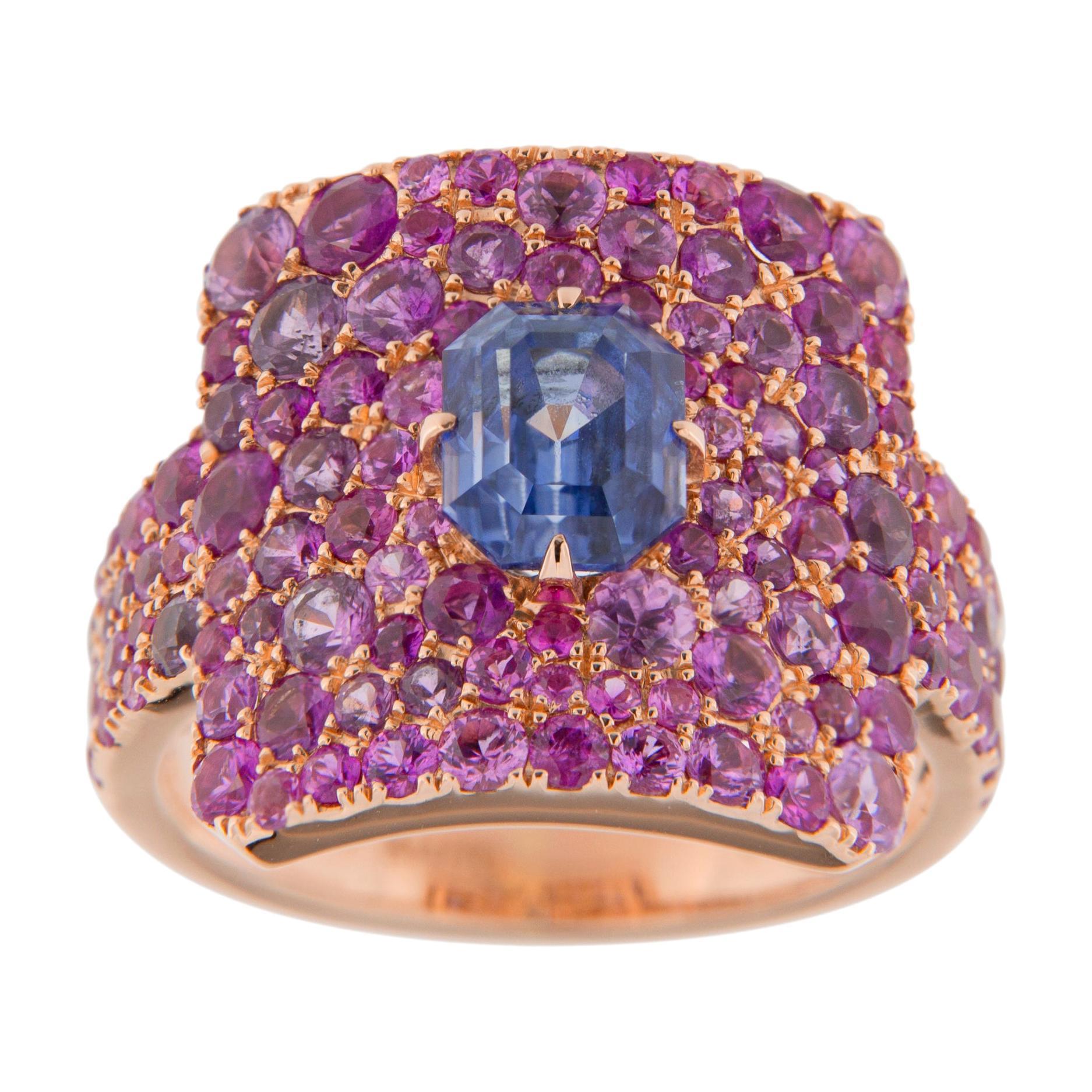 Alex Jona Blue Sapphire Pink Sapphire 18 Karat Rose Gold Ring