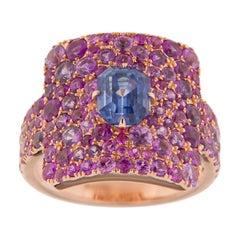 Jona Blue Sapphire Pink Sapphire 18 Karat Rose Gold Ring