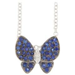 Jona Blue Sapphire White Diamond 18 Karat White Gold Butterfly Pendant Necklace