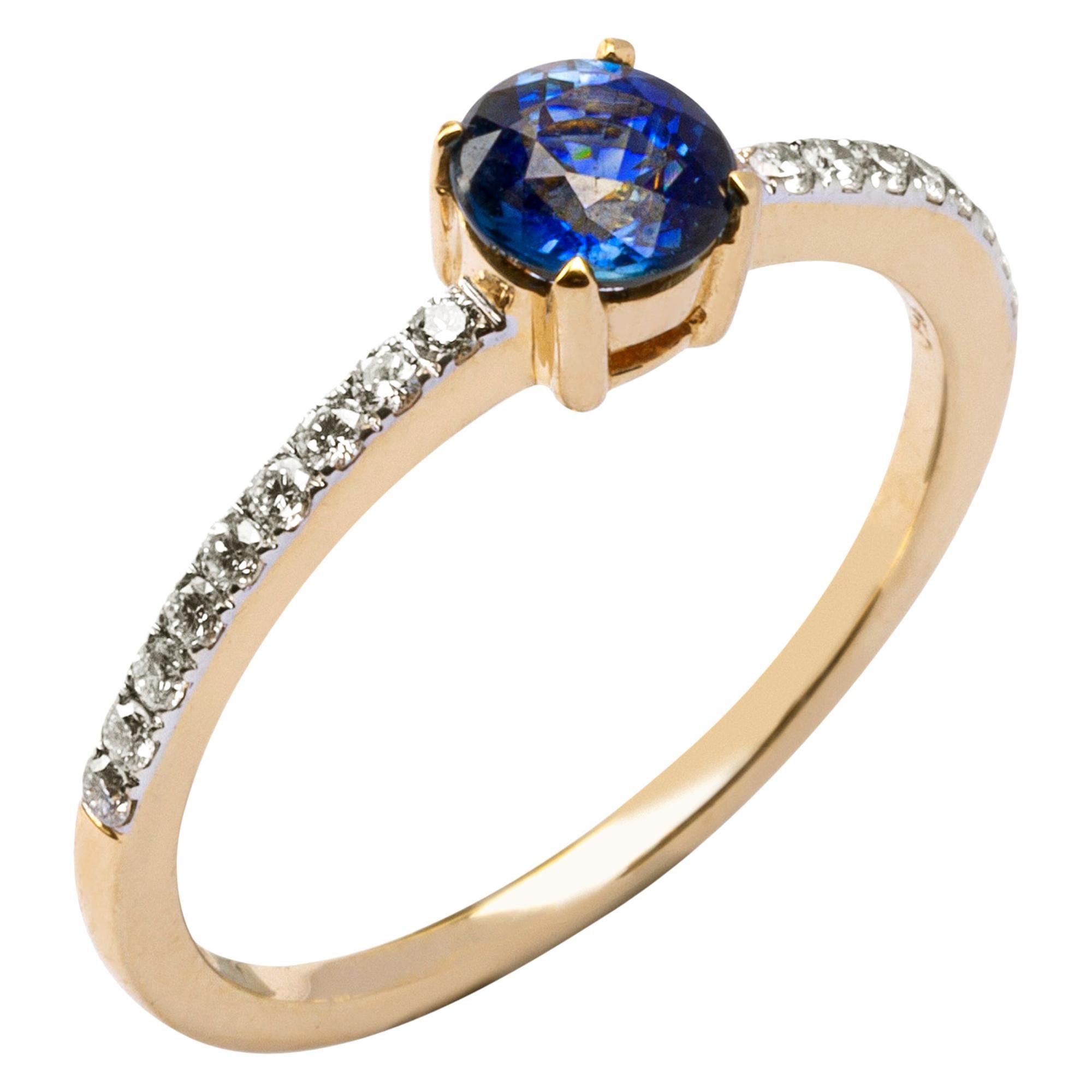 Alex Jona Blue Sapphire White Diamond 18 Karat Yellow Gold Solitaire Ring