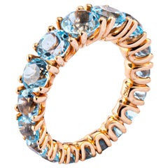 Jona Blue Topaz 18 Karat Rose Gold Eternity Band Ring