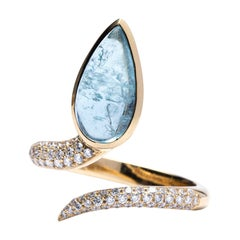 Jona Blue Tourmaline White Diamond 18 Karat Yellow Gold Coil Snake Ring