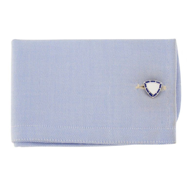 Jona design collection, hand crafted in Italy, sterling silver cufflinks with white and blue enamel. Dimensions: 0.50 in.  x 0.50 in. D 12.7 mm.  x 12.7 mm.  All Jona jewelry is new and has never been previously owned or worn. Each item will arrive