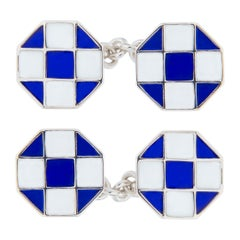 Jona Blue White Enamel Sterling Silver Cufflinks