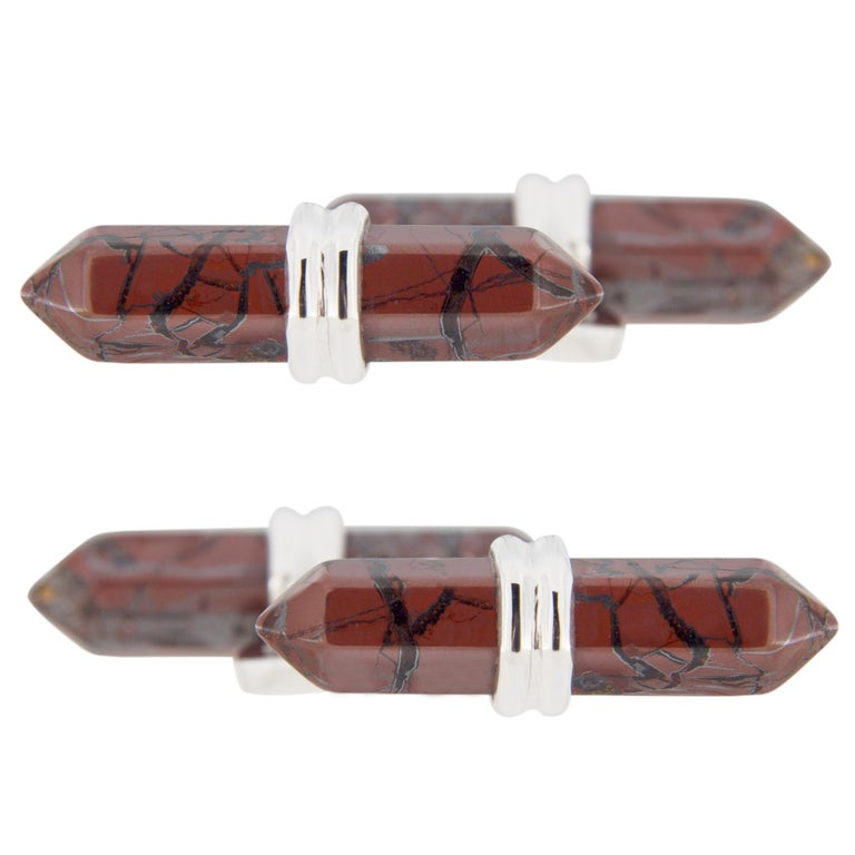 Jona Breciated Jasper Bar Sterling Silver Cufflinks In New Condition For Sale In Torino, IT