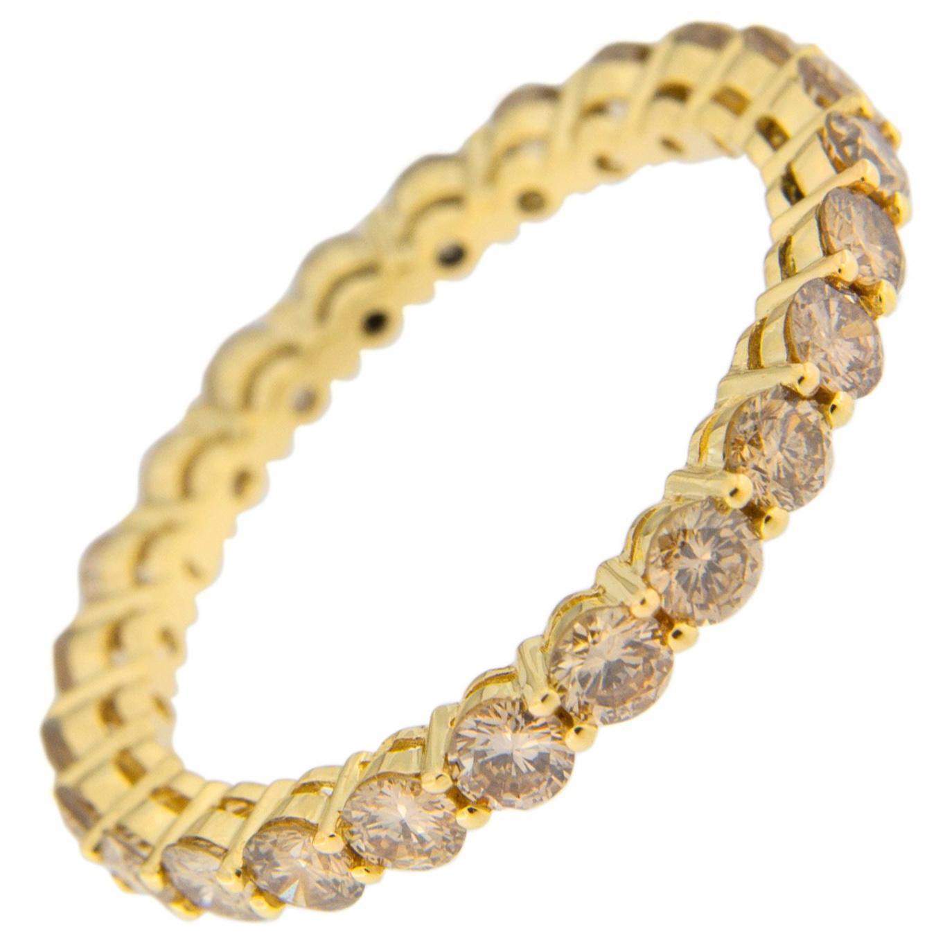 Jona Brown Diamond 18 Karat Yellow Gold Eternity Band Ring