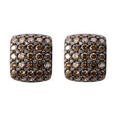 Jona Brown and White Diamond 18 Karat White Gold Clip-On Earrings