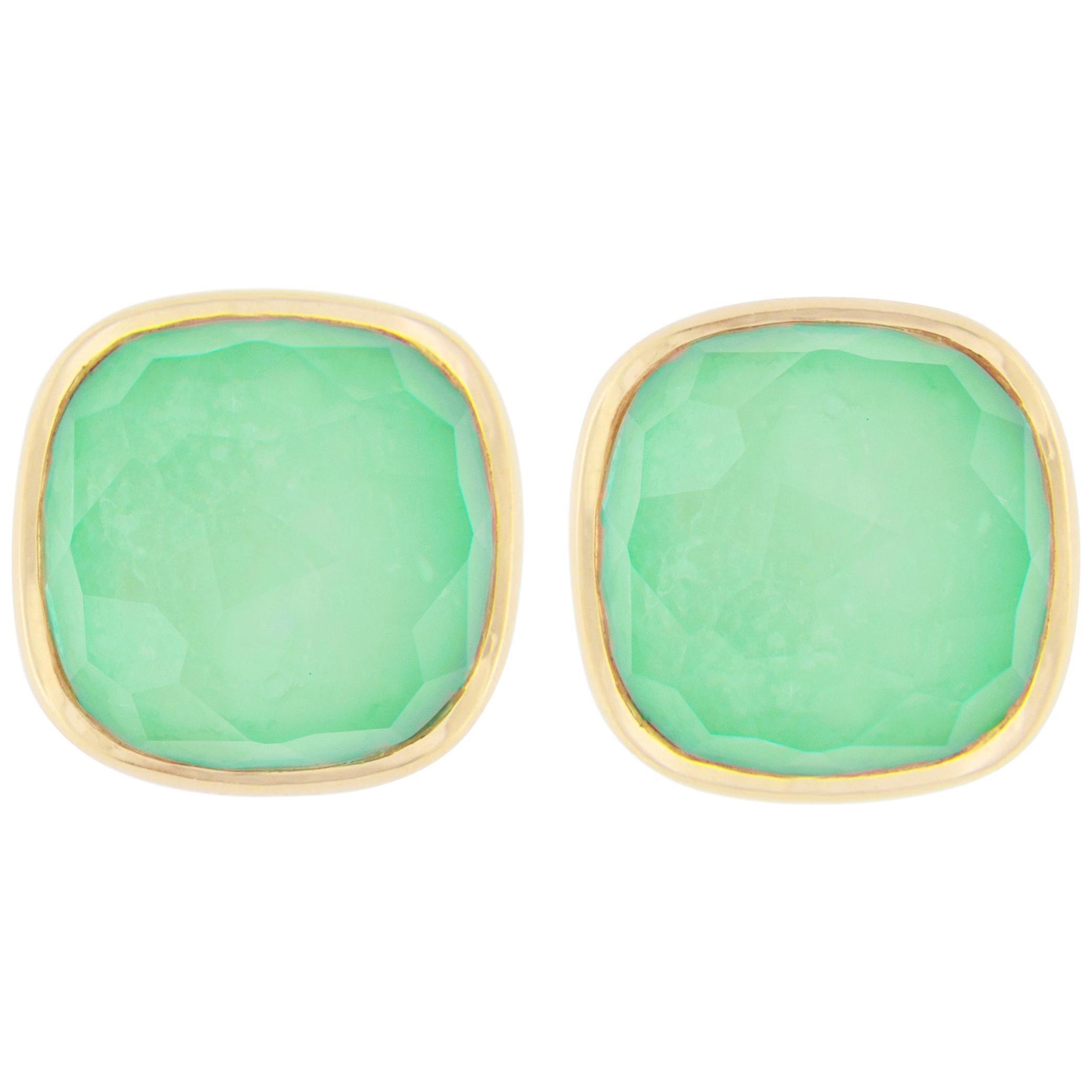 Jona Burmese Jade Quartz 18 Karat Yellow Gold Stud Earrings
