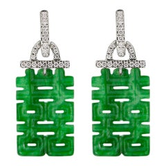 Jona Burmese Jadeite Jade White Diamond 18 Karat White Gold Pendant Earrings