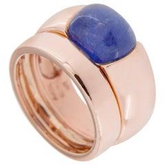 Jona Cabochon Tanzanite 18 Karat Rose Gold Double Band Ring