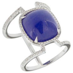 Jona Cabochon Tanzanite White Diamond 18 Karat White Gold Open Ring Band