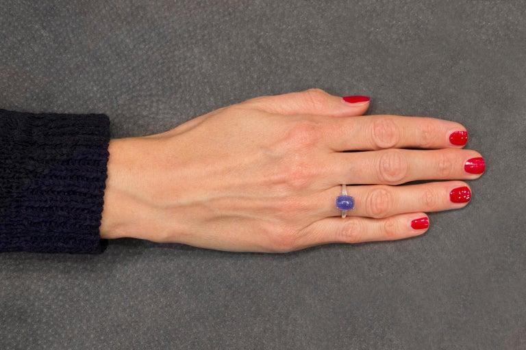 Jona Cabochon Tanzanite White Diamond 18 Karat White Gold Solitaire Ring For Sale 6