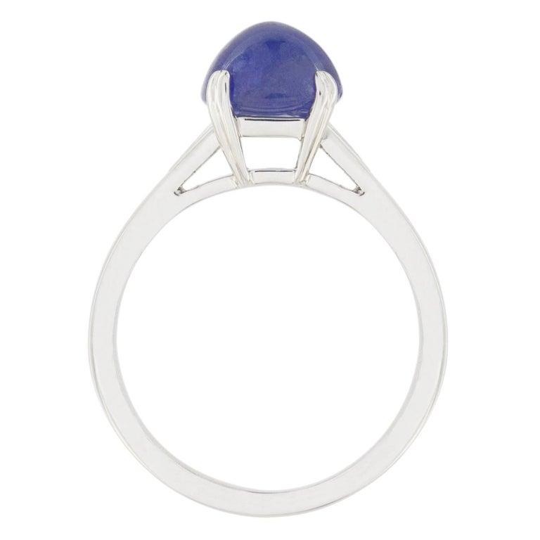 Jona Cabochon Tanzanite White Diamond 18 Karat White Gold Solitaire Ring For Sale 3