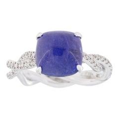 Jona Cabochon Tanzanite White Diamond 18 Karat White Gold Solitaire Ring