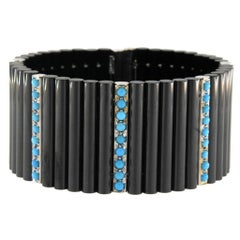 Jona Ceramic Turquoise White Gold Cuff Flexible Bangle Bracelet