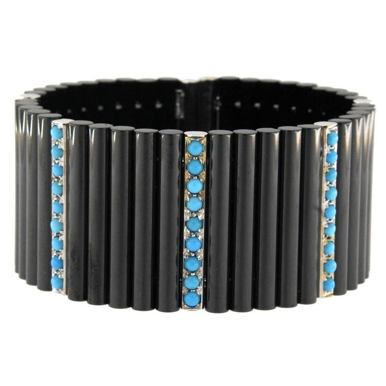 Jona Ceramic Turquoise Gold Cuff Flexible Bangle Bracelet