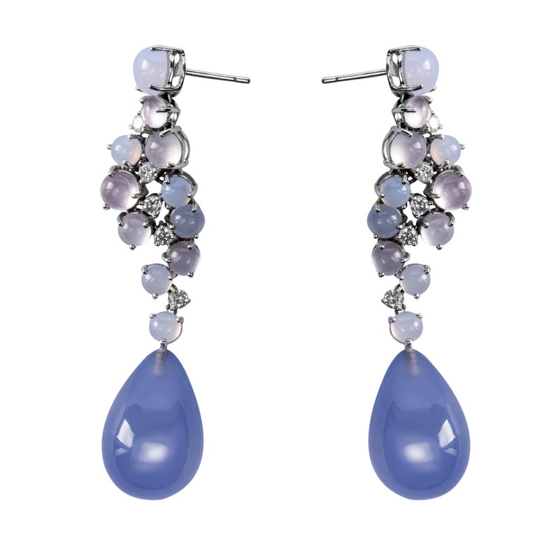 Cabochon Jona Chalcedony Moonstone 18 Karat White Gold Drop Earrings For Sale