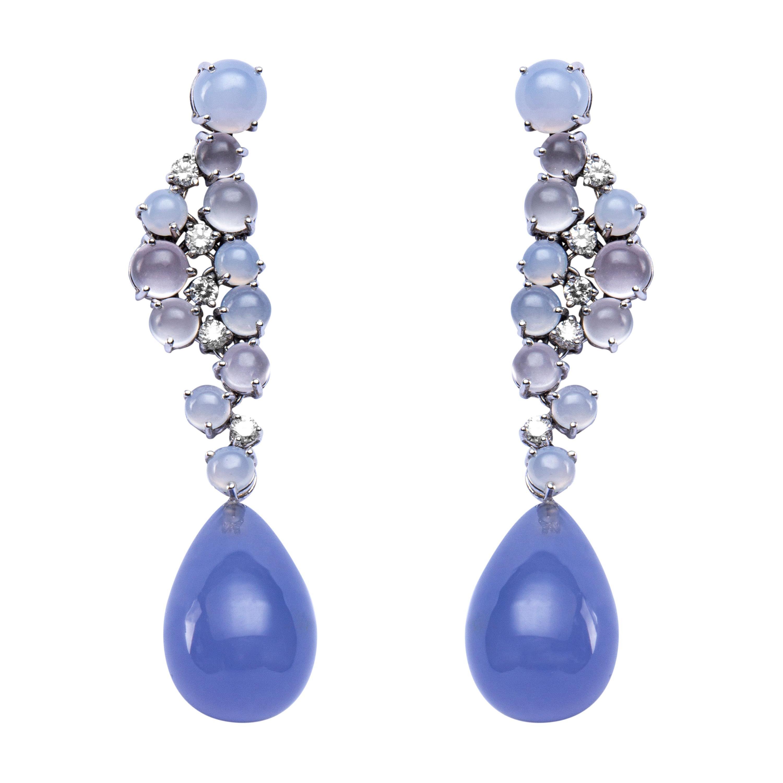 Jona Chalcedony Moonstone 18 Karat White Gold Drop Earrings