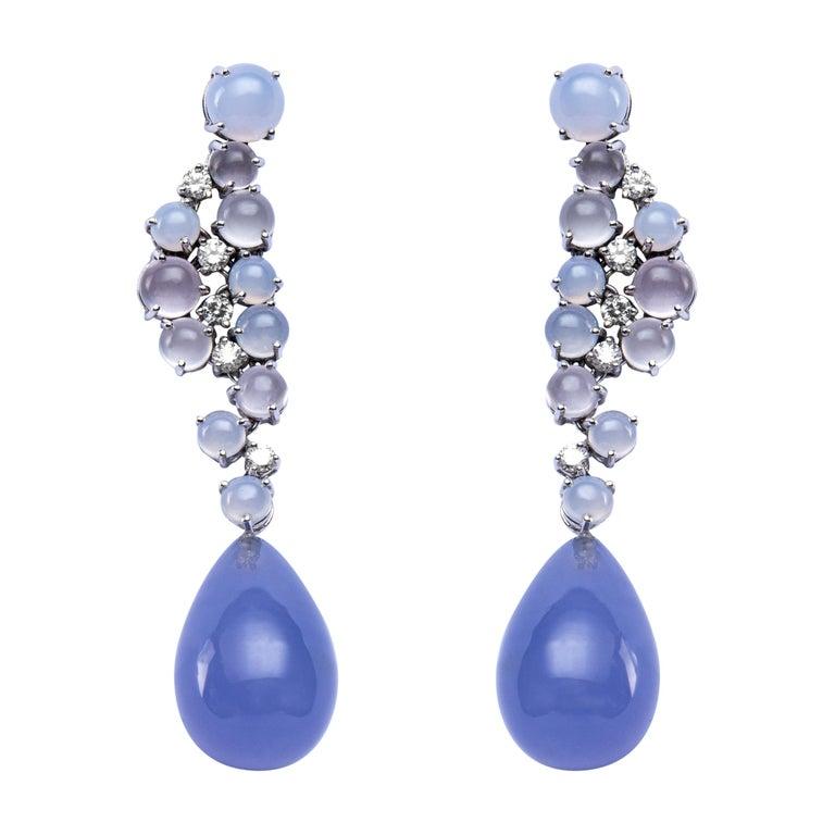 Jona Chalcedony Moonstone 18 Karat White Gold Drop Earrings For Sale