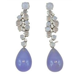 Jona Chalcedony Moonstone 18 Karat White Gold Drop Earrings