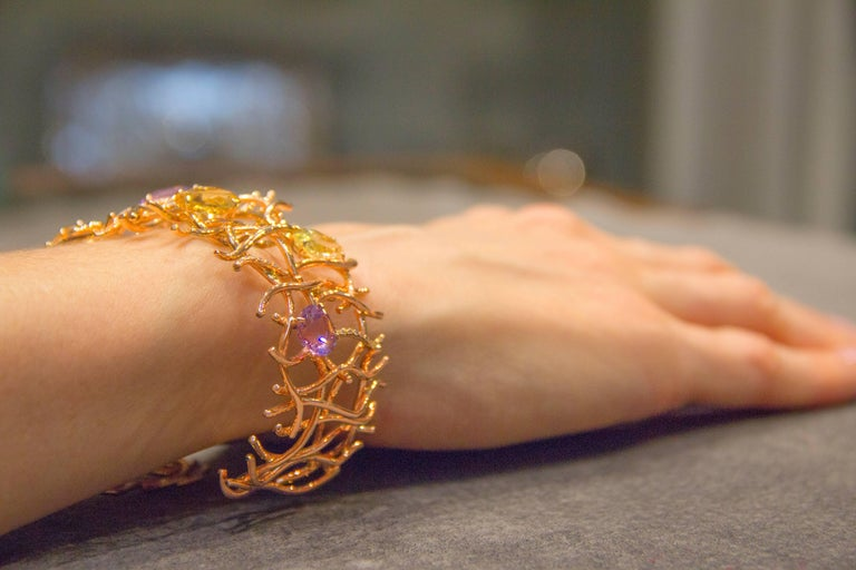 Jona Citrine Amethyst Diamond Grid 18Karat Rose Gold One-of-a-Kind Cuff Bracelet In New Condition For Sale In Torino, IT